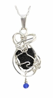Authentic Titanic Coal Jewelry Necklace Sterling Silver Sapphire Petite