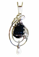 Authentic Titanic Coal Sterling Silver with Pearl Pendant Necklace