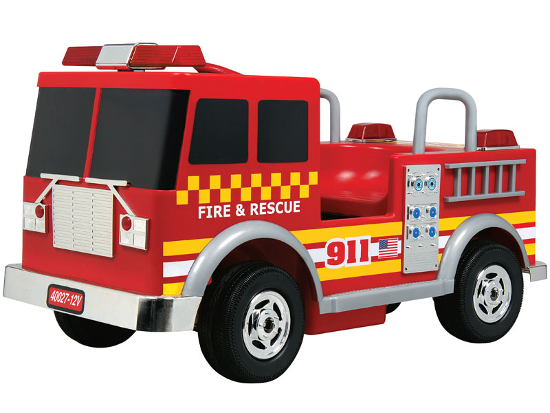 kalee kids ride on fire truck 12v red
