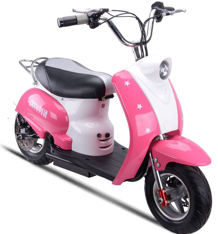 mototec 350 watt 24 volt kids electric moped scooter in pink