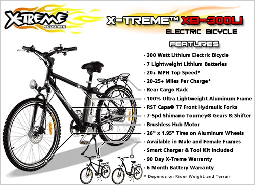 X-Treme TRAILMAKER Electric Bicycle Lithium Battery 7 Speed