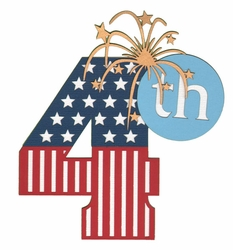 4th of July Number Laser Die Cut