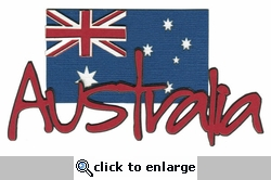 Australia With Flag Laser Die Cut