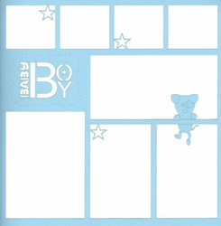 Baby Boy With Puppy 12 x 12 Overlay Laser Die Cut