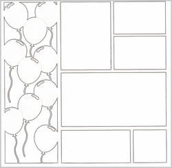 1SYT Balloons Vertical Border 12 x 12 Overlay Laser Die Cut