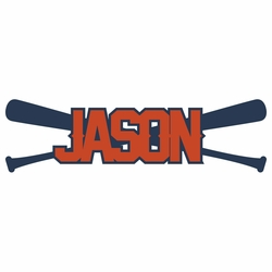 Baseball: Custom Name with Bats Laser Die Cut