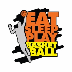 Basketball: Eat Sleep Play Laser Die Cut