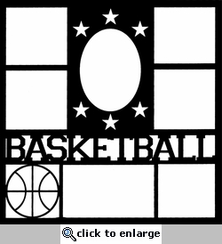 Basketball Star Frame 12 x 12 Overlay Laser Die Cut-<font color=red> <b>we &hearts; this</b></font>
