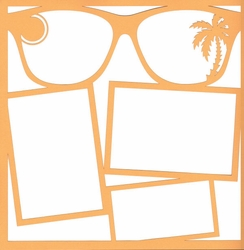 Beach Sunglasses 12 x 12 Overlay Laser Die Cut