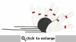 Bowling Pins with Bowling Ball Laser Die Cut