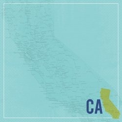 California Travels: CA Map 12 x 12 Paper