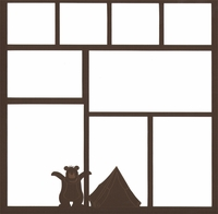 Camping: Bear and Tent 12 x 12 Overlay Laser Die Cut