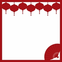 Chinese New Year: Lanterns and Fan 12 x 12 Overlay Laser Die Cut
