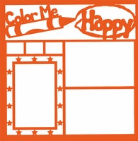 Color Me Happy 12 x 12 Overlay Laser Die Cut