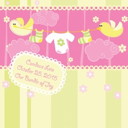 1SYT Custom Baby Girl Ducks 12 x 12 Paper