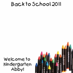Custom Back to School Crayons 12 x 12 Paper