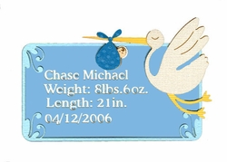 Custom Birth Announcement Boys Laser Die Cut