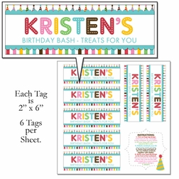 Custom Birthday Bag Tags 12 x 12 Paper