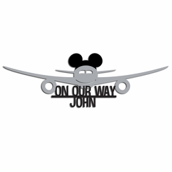 Custom Plane with Mickey Ears Laser Die Cut