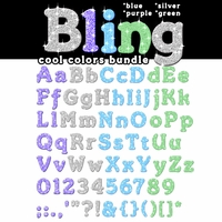Digital Download: Bling: Cool Colors Alpha Bundle