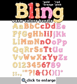 Digital Download: Bling: Warm Colors Alpha Bundle