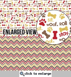 Digital Download: Puppy Love: Halvsies - Doggy Icons and Chevrons 12 x 12 Paper