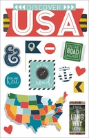 "Discover USA 3D Stickers 4.5""X7"""