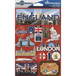England Jet Setters Dimensional Stickers