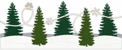 1SYT Evergreen Trees with Snow Border Laser Die Cut