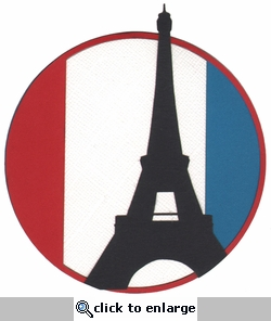 France: Circle With Eiffel Tower Laser Die Cut