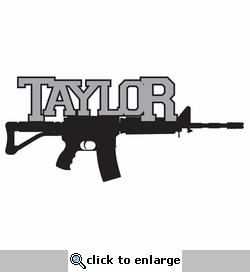 Guns: Name with Rifle Custom Laser Die Cut