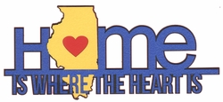 Heart is: Illinois Home Is Where The Heart Is Laser Die Cut