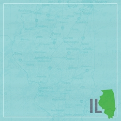 Illinois: IL Map 12 x 12 Paper