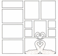 Kissing Swan Towel Animals 12 x 12 Overlay Laser Die Cut