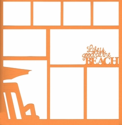 Life Is Good At The Beach 12 x 12 Overlay Laser Die Cut