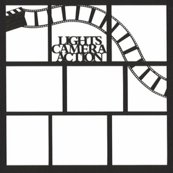 Lights, Camera,Action 12 x 12 Overlay Laser Die Cut
