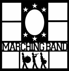1SYT Marching Band Star Frames 12 x 12 Overlay Laser Die Cut