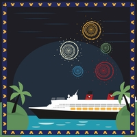 Mickey Cruise: Fireworks at Sea 12 x 12 Paper