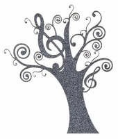 Music: Trebble Clef Swirly Tree Laser Die Cut
