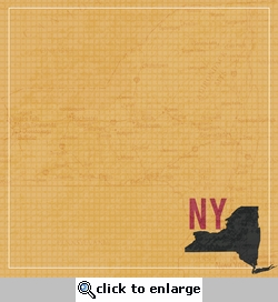 New York Travels: NY Map 12 x 12 Paper