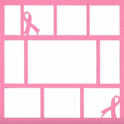2SYT Pink Ribbon 12 x 12 Overlay Laser Die Cut
