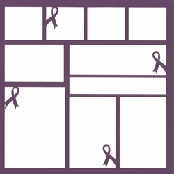 Purple Ribbon 12 x 12 Overlay Laser Die Cut