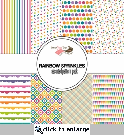 Rainbow Sprinkles Assorted 12 x 12 Paper Pack