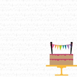 Rainbow Sprinkles: Cake with Banner 12 x 12 Paper