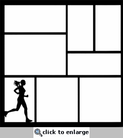 Running Woman 12 x 12 Overlay Laser Die Cut