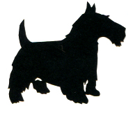 1SYT Scottish Terrier Silhouette Laser Die Cut