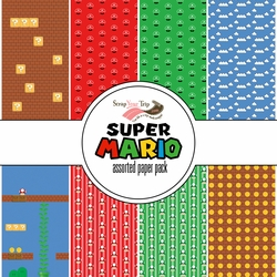 Super Mario Assorted 12 x 12 Paper Pack