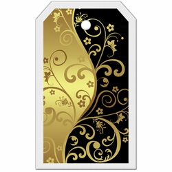 2SYT Tag-UR-It Black and Gold Flourish Photo Tag