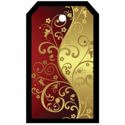 2SYT Tag-UR-It Red and Gold Flourish Photo Tag