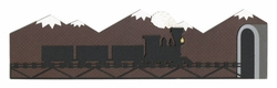 Train on Bridge with Mountains Border Laser Die Cut